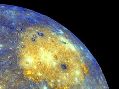 This image released by NASA shows an enhanced photo image of Mercury from its Messenger probe's 2008 flyby of the planet.