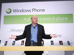 Microsoft CEO Steve Ballmer unveils the new Windows Phone 7 series during an event last October in New York.