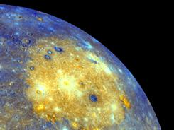 An enhanced photo image of Mercury.