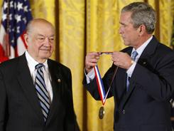 In a Sept. 29, 2008 file photo then President Bush presents Paul Baran a 2007 National Medal of Technology and Innovation.  Baran, whose work with packaging data in the 1960s has been credited with playing a key role in the later development of the Internet, died Saturday March 26, 2011 his son told The Associated Press.