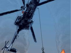 An illustration titled &quot;Copter Lift&quot; used in &quot;Quakebook,&quot; designed by contributor Chris MacKenzie.  &quot;Quakebook,&quot; a collection of reflections, essays and images of the March 11 earthquake will be sold in the coming days as a digital publication. Proceeds from the project will go to the Japanese Red Cross, said the 40-year-old, who goes by the pseudonym &quot;Our Man in Abiko.&quot;