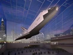 This image provided by the Adler Planetarium shows a proposal for a space shuttle exhibit in Chicago.