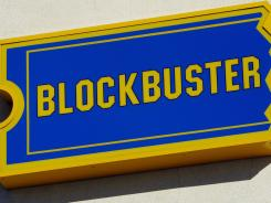 The exterior of a Blockbuster video rental store.
