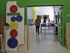 In this photo taken April 12, 2011, a workshop space created for Google employees is seen in Mountain View, Calif.