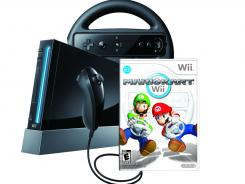 A Nintendo Wii and Mario Kart video game.