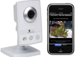 The Dropcam can send live video to a remote device.