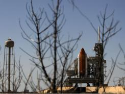 Space shuttle Endeavour sits on launch pad 39A at the Kennedy Space Center.