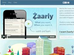 The zaarly.com home page.