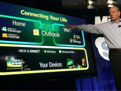 CEO Steve Ballmer speaks during a news conference about Microsoft's purchase of Skype.