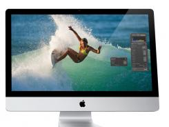 Apple has upgraded its line of iMac desktop computers with faster processors, higher-resolution cameras and a new type of data port.