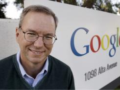 Google Executive Chairman Eric Schmidt  outside of Google headquarters in Mountain View, Calif.