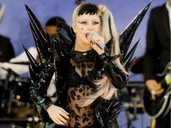 Lady Gaga performing on ABC's 'Good Morning America' in Central Park in New York.