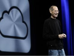 Apple CEO Steve Jobs introduces iCloud during a keynote address to the Apple Worldwide Developers Conference in San Francisco, Monday.