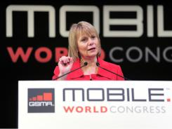 Yahoo CEO Carol Bartz, speaks on Feb. 16, 2011 at the Mobile World Congress in Barcelona.