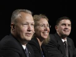 Crew of  Atlantis' final mission take part in a news conference at Johnson Space Center.