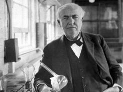 Thomas Alva Edison is shown in his laboratory in West Orange, N.J., in this undated photo.