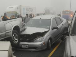 The aftermath of chain-reaction collisions in 2008 on a highway in Visalia, Calif.