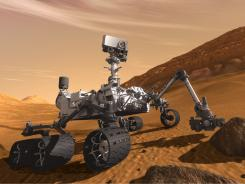 An artist's rendering of what the NASA Mars rover will look like.