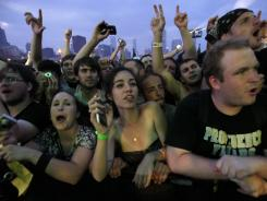 Music fans watch Soundgarden's performance during the Lollapalooza music festival in Grant Park Sunday, Aug. 8, 2010, in Chicago.
