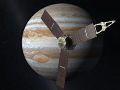 This artist's rendering depicts NASA's Juno spacecraft with Jupiter in the background.