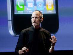 Steve Jobs, CEO of Apple, speaks during a press conference about the iPhone 4.