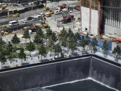 Construction continues at the 9/11 Memorial waterfalls.