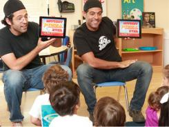 Evan and Gregg Spiridellis, the brothers who run the JibJab website, demo their new line of digital children books for the iPad to pre-schoolers in Manhattan Beach, Calif.