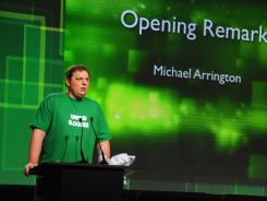 Michael Arrington speaks onstage at TechCrunch Disrupt on Sept.12.