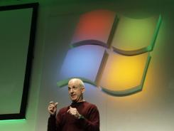 Steven Sinofsky, president of Microsoft's Windows and Windows Live division, speaks during the Consumer Electronics Show in Las Vegas.