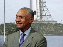 NASA Administrator Charles Bolden participates in a news conference to introduce the design of the new Space Launch System on Capitol Hill.