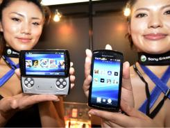 Models display Sony Ericsson's smartphone Xperia Play at the annual Tokyo Game Show in  suburban Tokyo.