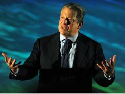 Al Gore delivers a lecture in March during the First Business Forum on Sustainability and Environment on the outskirts of San Jose, Costa Rica.