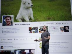Facebook CEO Mark Zuckerberg shows Timeline during the f/8 conference in San Francisco.
