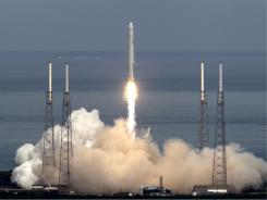 The SpaceX Falcon 9 test rocket lifts off on June 4, 2010.
