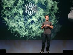 Facebook CEO Mark Zuckerberg delivers a keynote during the Facebook f8 developer conference.