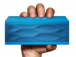The Jawbone Jambox personal speaker fits in the palm of your hand.