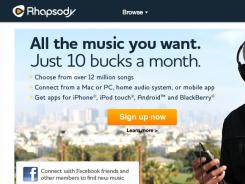 Screenshot of Rhapsody's homepage.