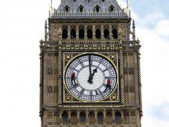 File photo of workers doing maintenance on 'Big Ben'  in London.