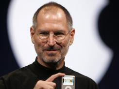 In this Sept. 5, 2007, file photo, Apple CEO Steve Jobs introduces the Apple Nano in San Francisco.