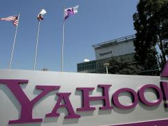 A sign in front of Yahoo headquarters  in Sunnyvale, Calif.