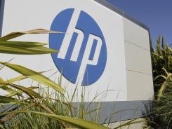 The Hewlett Packard logo outside headquarters in Palo Alto, Calif.