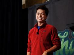Ben Silbermann speaks at Thinc Iowa in Des Moines.