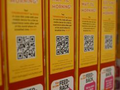 QR codes seen on the back of cereal boxes.