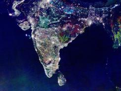 This satellite image of India shows population growth over time. It is not an image of India at night during Diwali, as it has been spread as on Facebook.