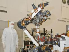 This NASA photo shows the NASA Mars Science Laboratory rover, Curiosity,  during testing in June.