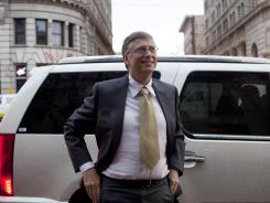 Microsoft founder Bill Gates arrives at the Frank E. Moss federal courthouse in Salt Lake City.