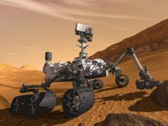 An artist's rendering of the Mars rover as it might appear on the planet.