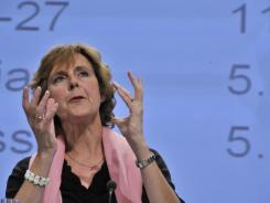 EU Commissioner for Climate Action Connie Hedegaard gestures during a news conference on the position of the EU and its expectations for the next U.N. climate change conference in Durban.