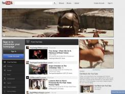 A screenshot of YouTube's new homepage.
