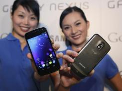 Models display the Samsung Galaxy Nexus.